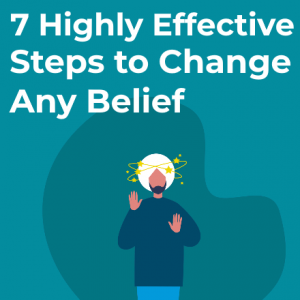 thumbnail for change any belief blog post, man with beliefs swirling around his head
