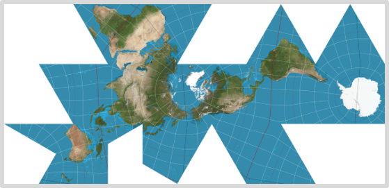 Justin Kunimune Dymaxion Projection map of the world