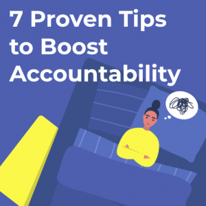 thumbnail tips to boost personal accountability blog post, girl stuck in bed struggling with accountability