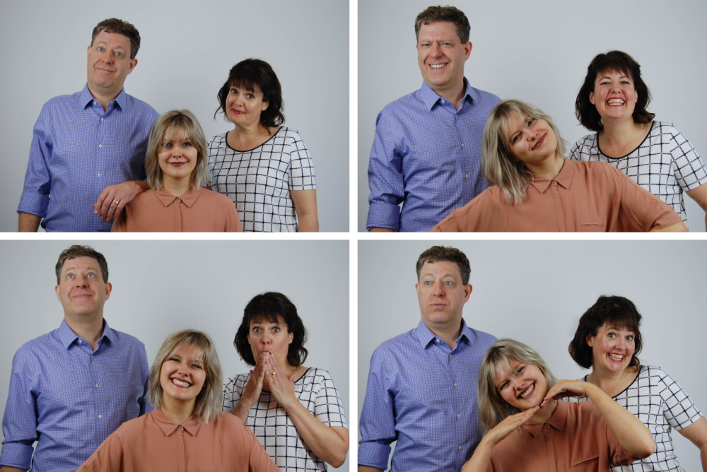 Co-Founders of Both Now: Brad, Paula, and Hailey, four photos, playful faces